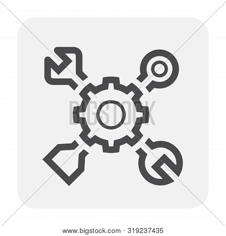 Config Or Setting Icon Design, Black And Outline.
