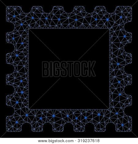 Glowing Mesh Postage Stamp With Lightspot Effect. Abstract Illuminated Model Of Postage Stamp Icon.