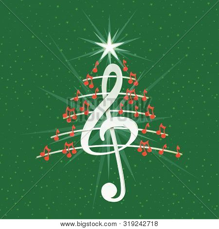Christmas Tree Made Of Red Musical Notes, White Treble Clef And Pentagram Lines On Green Background
