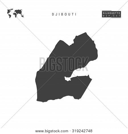 Djibouti Blank Vector Map Isolated On White Background. High-detailed Black Silhouette Map Of Djibou