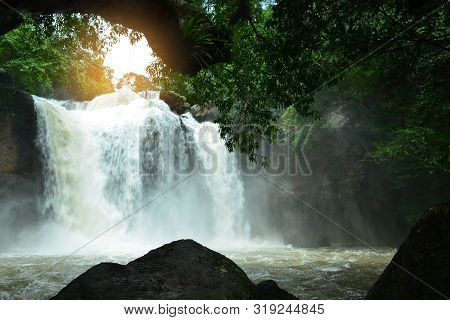 Scenic View Of Haew Suwat Waterfall In Rainy Season,khao Yai National Park,thailand.