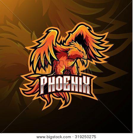 Phoenix Sport Mascot Logo Design With Text