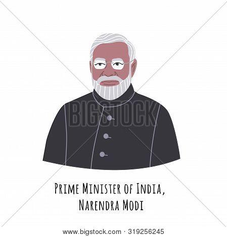 Narendra Modi Hand Drawn Color Portrait Illustration. Republic Of India Prime Minister. Old Respecta