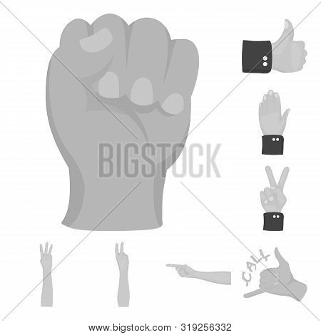 Bitmap Design Of Animated And Thumb Logo. Collection Of Animated And Gesture Bitmap Icon For Stock.