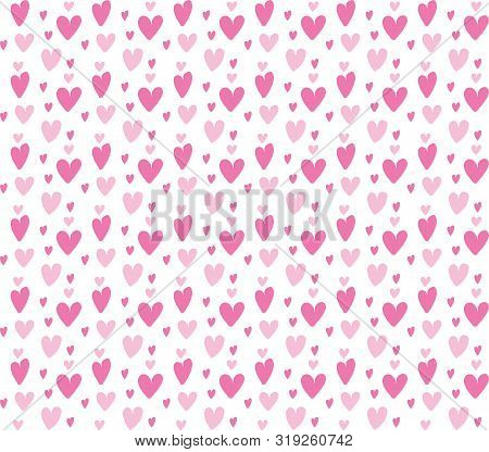 Pink Heart Seamless Pattern. Vector Illustration. Vector Valentine S Day Background With Red Little