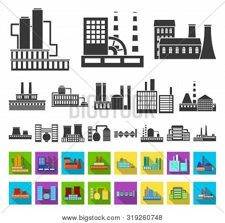 Factory And Facilities Black, Flat Icons In Set Collection For Design. Factory And Equipment Bitmap