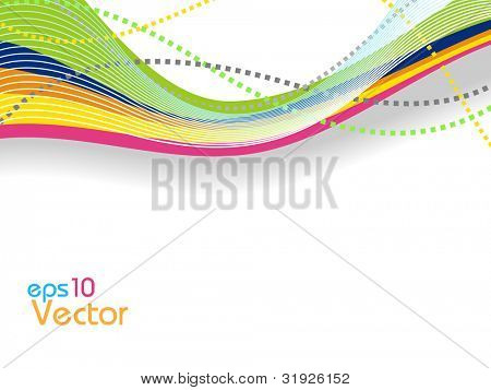Abstract waves background in multiple colors yellow, pink, light green, orange, isolated on white. EPS 10. Can be used for flyers and corporate presentations.