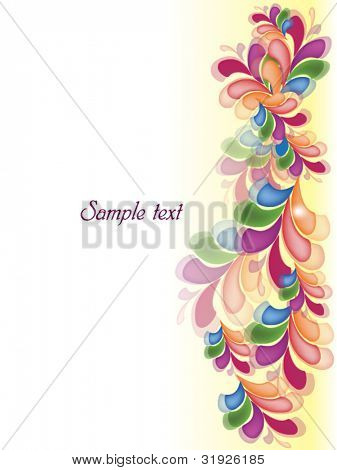 Vector illustration of abstract conceptual swirly background with colorful floral design and sapce for your message. EPS 10.