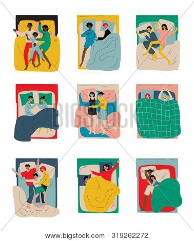 People Sleeping At Night Set, Family Couples Lying In Double Bed In Different Poses, Parents Sleepin