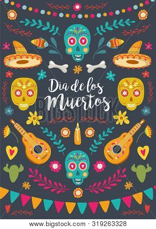 Dia De Los Muertos, Mexican Day Of The Dead. Greeting Card With Hand Drawn Lettering