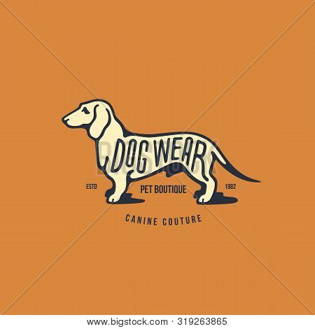 Dachshund Logo, Label Design Template. Vector Illustration.