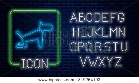 Glowing Neon Dog Pooping Icon Isolated On Brick Wall Background. Dog Goes To The Toilet. Dog Defecat
