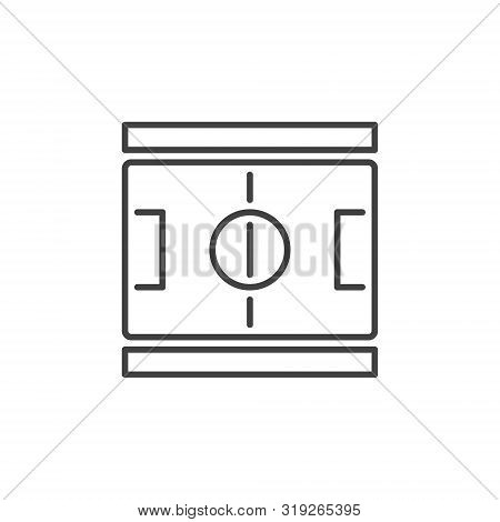 Football Pitch Outline Concept Icon. Vector Soccer Field Linear Symbol Or Design Element