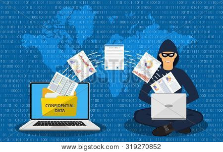 Data Phishing, Hacker Attack.thief Hacker In Mask Stealing Personal Information From Laptop. Concept