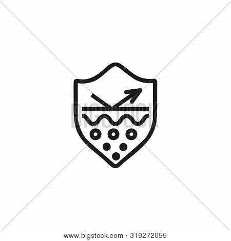 Skin Protection Line Icon. Epidermis, Healthy Skin, Uv Protection. Skincare Concept. Vector Illustra