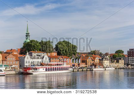 Kappeln, Germany - June 25, 2019: Paddle Boat At The Harbor Of Historic Town Kappeln, Germany