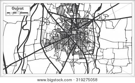Gujrat Pakistan City Map in Retro Style in Black and White Color. Outline Map.