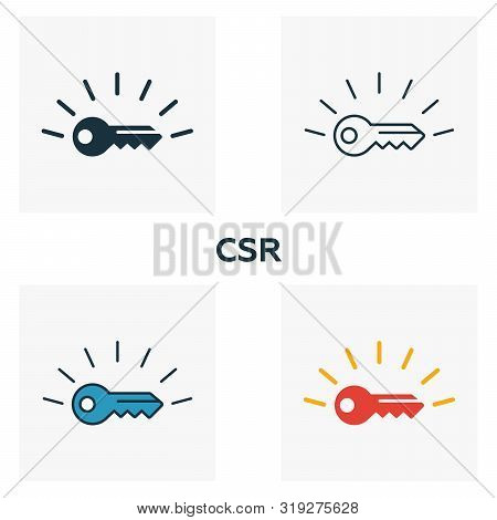 Csr Icon Set. Four Elements In Diferent Styles From Business Ethics Icons Collection. Creative Csr I