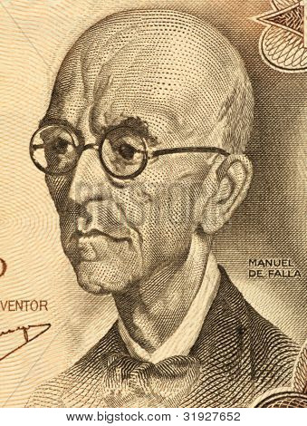 SPAIN - CIRCA 1970: Manuel De Falla (1876-1946) on 100 Pesetas 1970 Banknote from Spain. Classical music composer. One of Spain's greatest musicians of the first half of the 20th century.