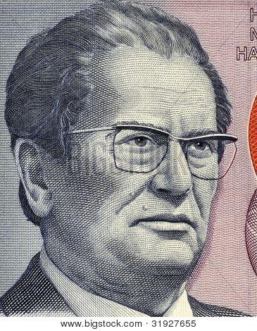 YUGOSLAVIA- CIRCA 1985: Josip Broz Tito (1892-1980) on 5000 Dinara 1985 Banknote from Yugoslavia. Yugoslav revolutionary and statesman, ruling in various roles during 1945-1980.