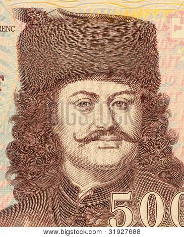 HUNGARY - CIRCA 2008: Francis II Rakoczi (1676-1735) on 500 Forint 2008 Banknote from Hungray. National hero of Hungary.
