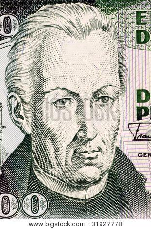 SPAIN - CIRCA 1992: Jose Celestino Mutis (1732-1808) on 200 Pesos Oro 1992 Banknote from Colombia. Spanish botanist and mathematician.
