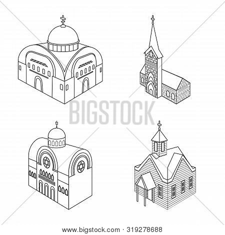 Vector Design Of Architecture And Building Sign. Set Of Architecture And Clergy Vector Icon For Stoc