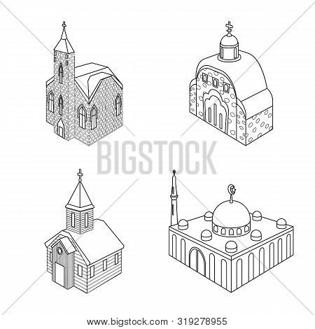 Vector Design Of Architecture And Building Sign. Collection Of Architecture And Clergy Vector Icon F