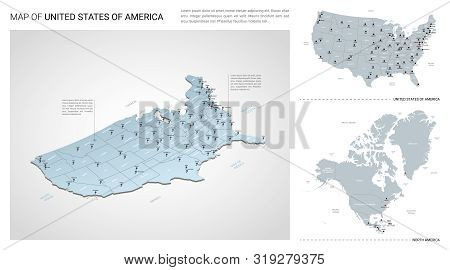 Vector Set Of United States Of America  Country.  Isometric 3d Map, United States Of America  Map, N
