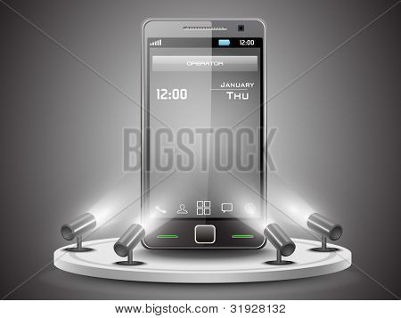 Shining Smartphone  on stand banner presentation  or template design, editable Vector Illustration in  EPS 10.