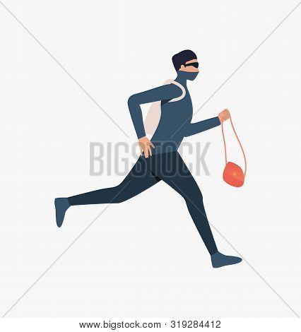 Thief Running With Handbag. Car Burglary, Thieves, Criminals Wearing Black Clothes. Crime Concept. V