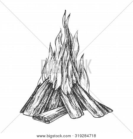 Traditional Burning Bonfire Monochrome Vector. Hiking Fiery Wooden Sticks Bonfire Fireplace. Hot For