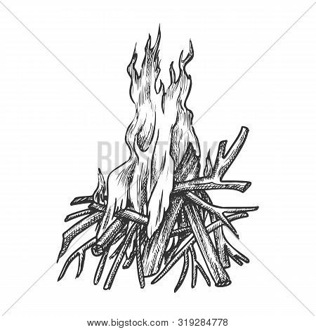 Traditional Burning Timbered Stick Vintage Vector. Burning Tree Wood Branches For Inflaming Flame. H