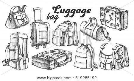 Collection Of Different Luggage Ink Set Vector. Assortment Of Luggage Bag For Business Trip, Extreme