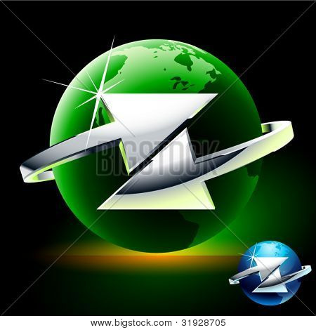 Transfer or exchange abstract vector symbol with arrows. Arrow moves around of green globe