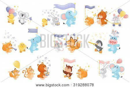 Set Of Different Cartoon Animals With Musical Instruments At The Parade. Vector Illustration On A Wh