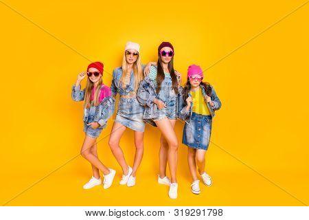 Full Body Photo Of Four Beautiful Attractive Pretty Charming Confident Streetstyle Denim Apparel Fan