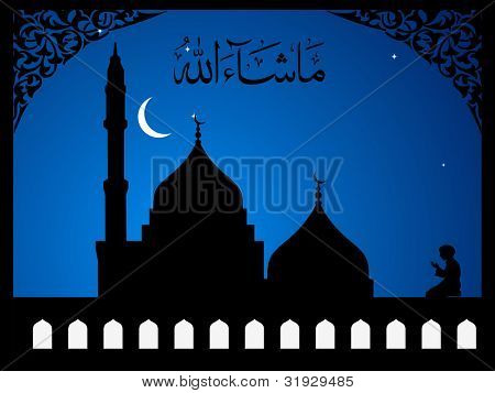 Arabic Islamic calligraphy of  Mashallah ( 'Whatever Allah (God) wills') text With Mosque or Masjid on  modern abstract background  with floral pattern & frame, in blue color EPS 10