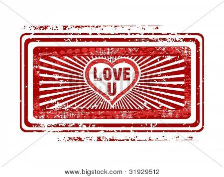 Grunge rubber stamp in red color with text love, isolated on white background. EPS 10.