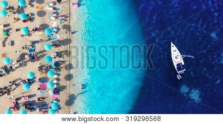 Croatia. Aerial View On The Beach And Yacht. Vacation And Adventure. Beach And Turquoise Water. Summ
