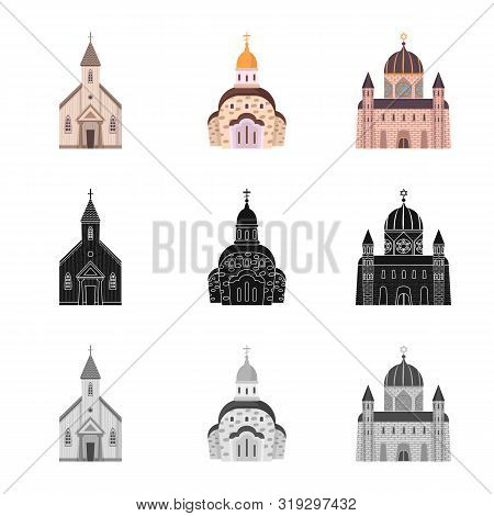 Vector Design Of Cult And Temple Symbol. Set Of Cult And Parish Vector Icon For Stock.