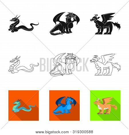 Vector Design Of Legend And Halloween Logo. Collection Of Legend And History Stock Symbol For Web.
