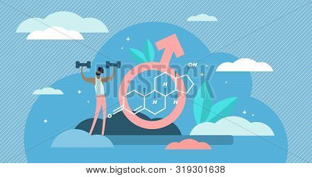 Testosterone Vector Illustration. Flat Tiny Male Sex Hormone Persons Concept. Anabolic Steroid Formu
