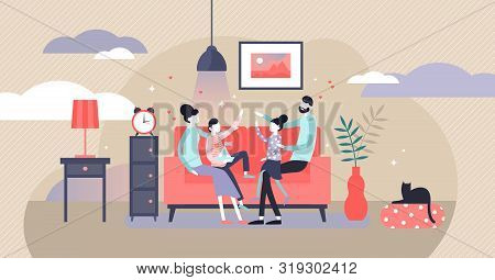 Family At Home Vector Illustration. Flat Tiny Together Joy Persons Concept. Cheerful Evening Happine