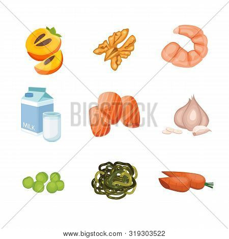 Products Containing Iodine. Groups Of Healthy Fruit, Vegetables, Meat, Fish And Dairy Products Conta