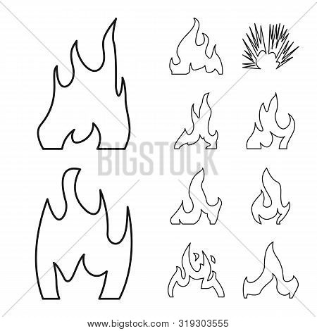 Vector Illustration Of Blaze And Campfire Sign. Collection Of Blaze And Danger Stock Vector Illustra