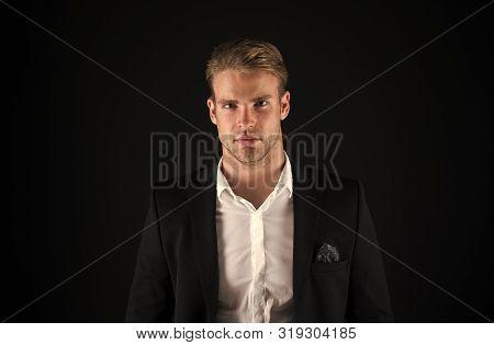 Hair Grooming Tips. Business Man Well Groomed Guy Dark Background. Business People Hairstyle. Busine