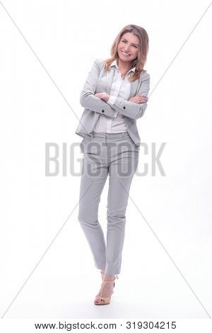 modern young business woman. isolated on white background