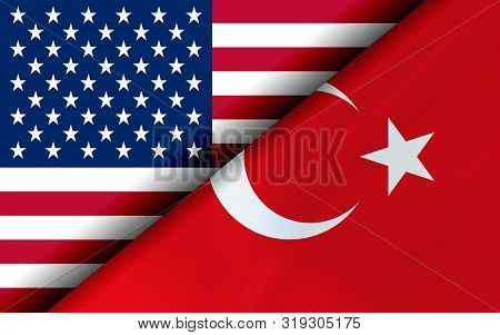 Flags Of The Usa And Turkey Divided Diagonally. 3d Rendering