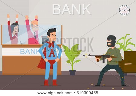 Superman Protects The Bank And The Hostages From Bandits. Super Man Stops Bank Raid. Bandit Shoots F